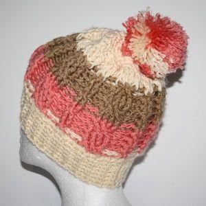 Neapolitan Crochet Cable Knit beanie with pom pom